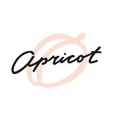 Label print lettering apricot vector