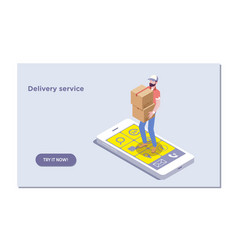 Landing page template of fast delivery online vector