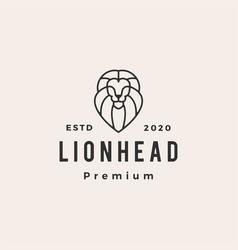 lion head line outline hipster vintage logo icon vector image