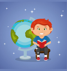 Little schoolboy with world planet vector