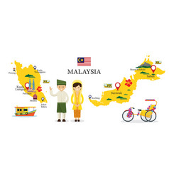 Malaysia map and landmarks with people in vector