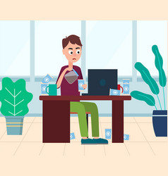 Man drinking coffee on business workplace vector