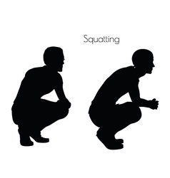 man in Sitting Squatting pose on white background vector image