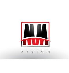Mm m m logo letters with red and black colors and vector