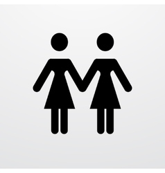 Modern lesbian two women on white vector