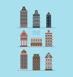 old exterior buildings european street old vector image