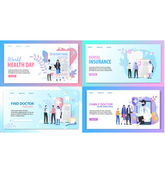 Online consultation family doctor health insurance vector