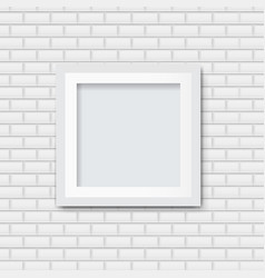 picture frame with white brick background vector image