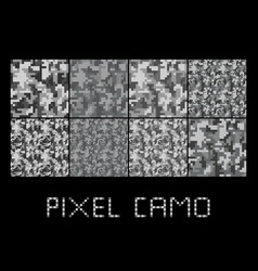 Pixel camo seamless pattern big set urban grey vector