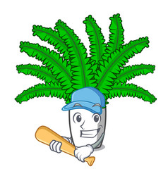 Playing baseball fern frond frame decoration on vector