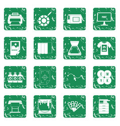 Printing icons set grunge vector