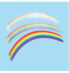 Rainbow on sky sign vector
