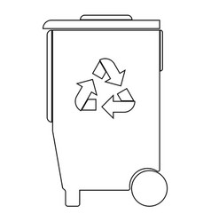 Refuse bin with arrows utilization the black vector