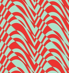 Retro 3D bulging red and green waves diagonally vector