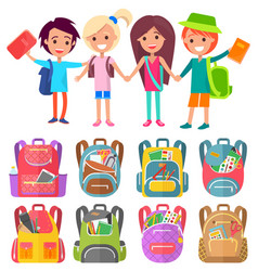 schoolchildren with bags and books stand and smile vector image
