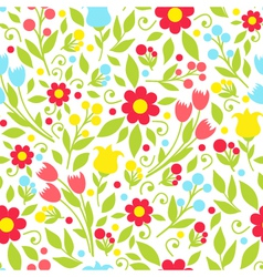 seamless pattern with spring flowers on a white vector image vector image