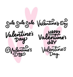 set calligraphic quotes for happy valentine s vector image