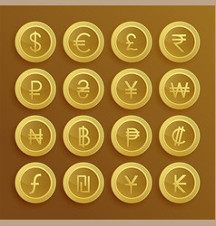 Set dolden currency icons and symbols vector