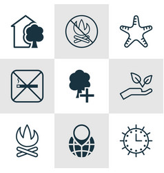 Set of 9 ecology icons includes bonfire save vector