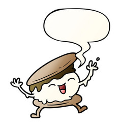 Smore cartoon and speech bubble in smooth vector