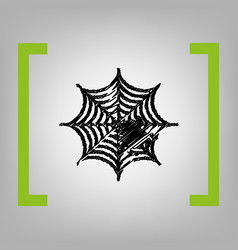 Spider on web black scribble vector