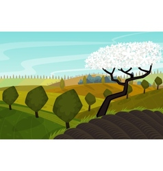 Spring landscape with green fields vector