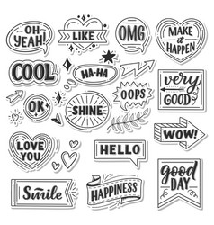 Stickers quotes and sound blasts vector