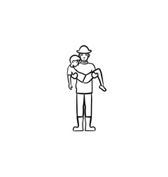 strong fireman rescuing a person sketch icon vector image