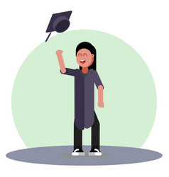 student girl throws a hat vector image
