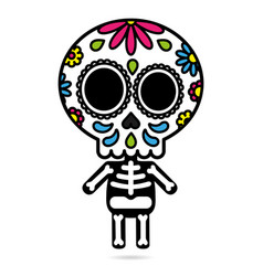 Sugar skull character isolated day of the dead vector