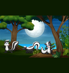 Three skunk in forest at night vector