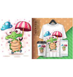 Turtle with umbrella poster and merchandising vector