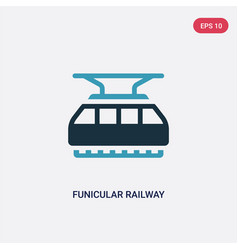 Two color funicular railway icon from vector