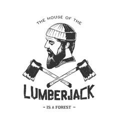 Vintage badge with lumberjack vector