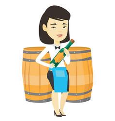Waitress holding bottle of alcohol vector