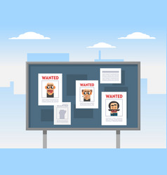 wanted criminals banner template placards with vector image
