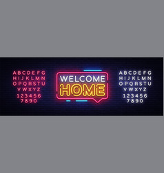 welcome home neon text welcome home neon vector image