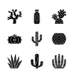 Wild cactuses glyph icons set vector