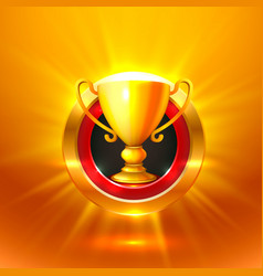 winner cup gold sign object vector image