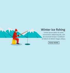 winter ice fishing banner horizontal concept vector image