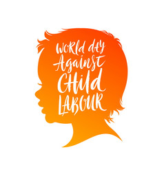 World day against child labour poster vector