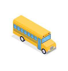 yellow bus isolated isometric 3d icon vector image