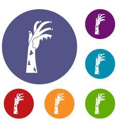 Zombie hand icons set vector