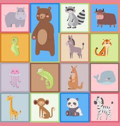 cute zoo cartoon animals isolated funny wildlife vector image vector image