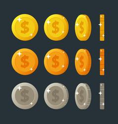 golden silver and bronze flat cartoon coins vector image vector image