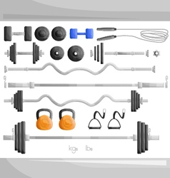 gym weight exercise work out set vector image vector image