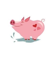 Pink Pig in Pool vector image