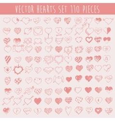 Set Hearts Design Elements Valentine Hand Drawn vector image