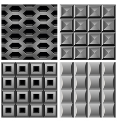 set with metal seamless patterns vector image
