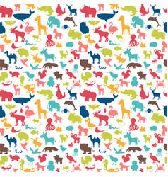 animals silhouettes seamless pattern cute vector image